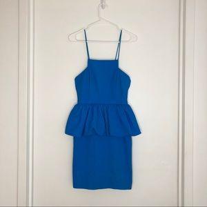 Tracey Reese Mini Aqua Blue Pencil Peplum dress